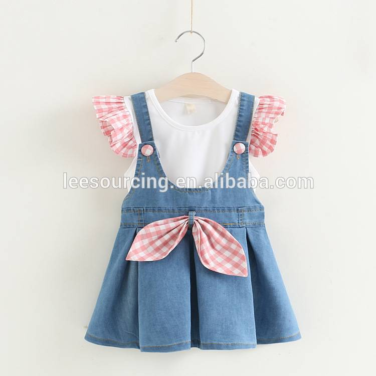Wholesale girls lace sleeve t-shirt and denim dress children clothing set