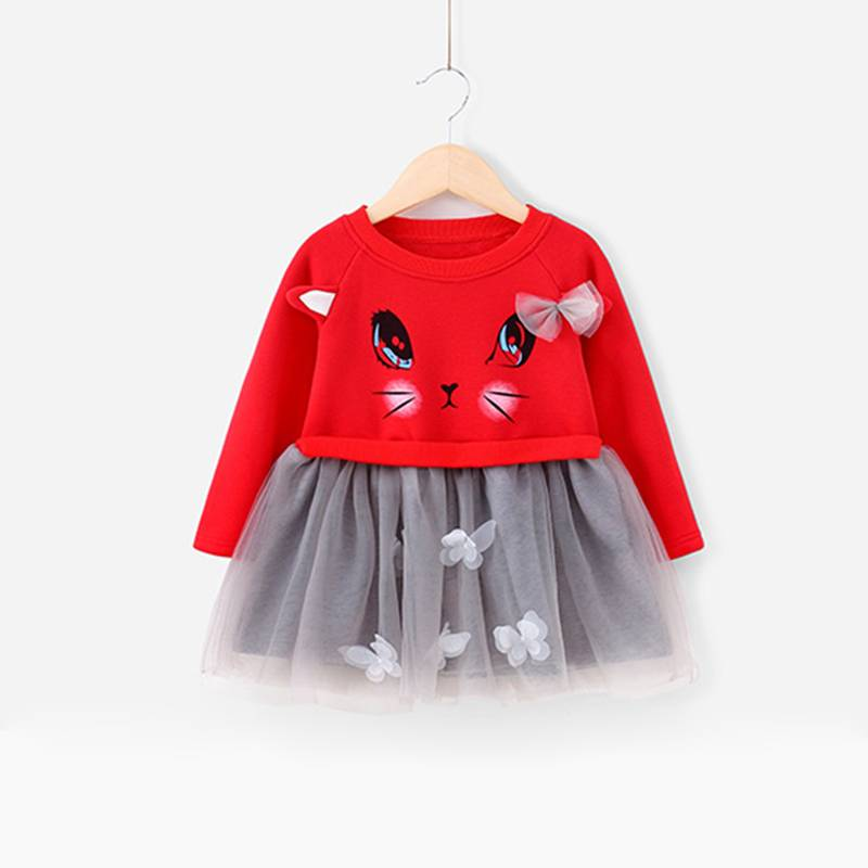 2017 Fashion Colorful Long Sleeve Baby Girls Party Wear Dress