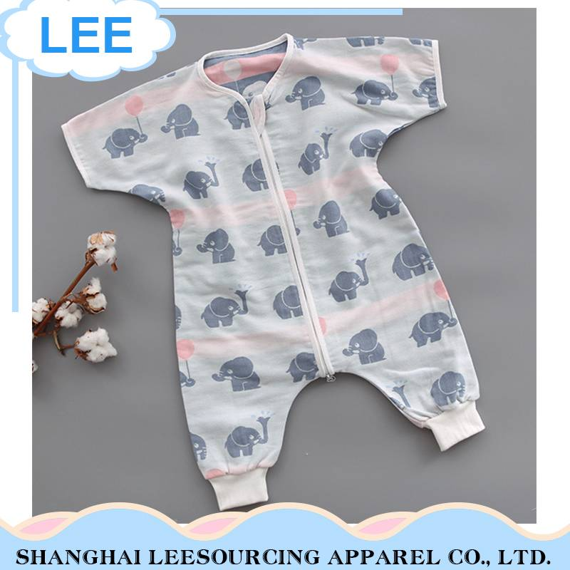 High quality Breathable Cartoon Pattern baby Bamboo Romper