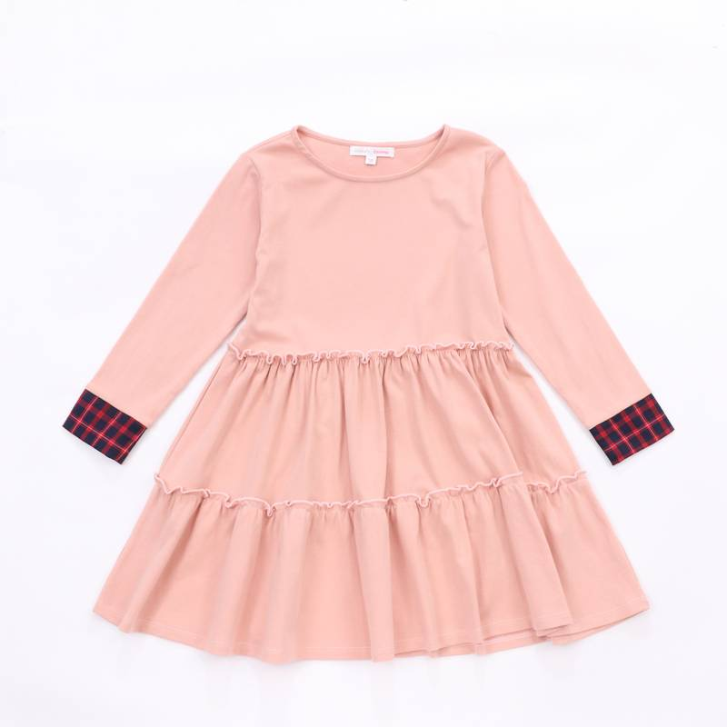 Latest one piece long sleeves children maxi dress for party girls