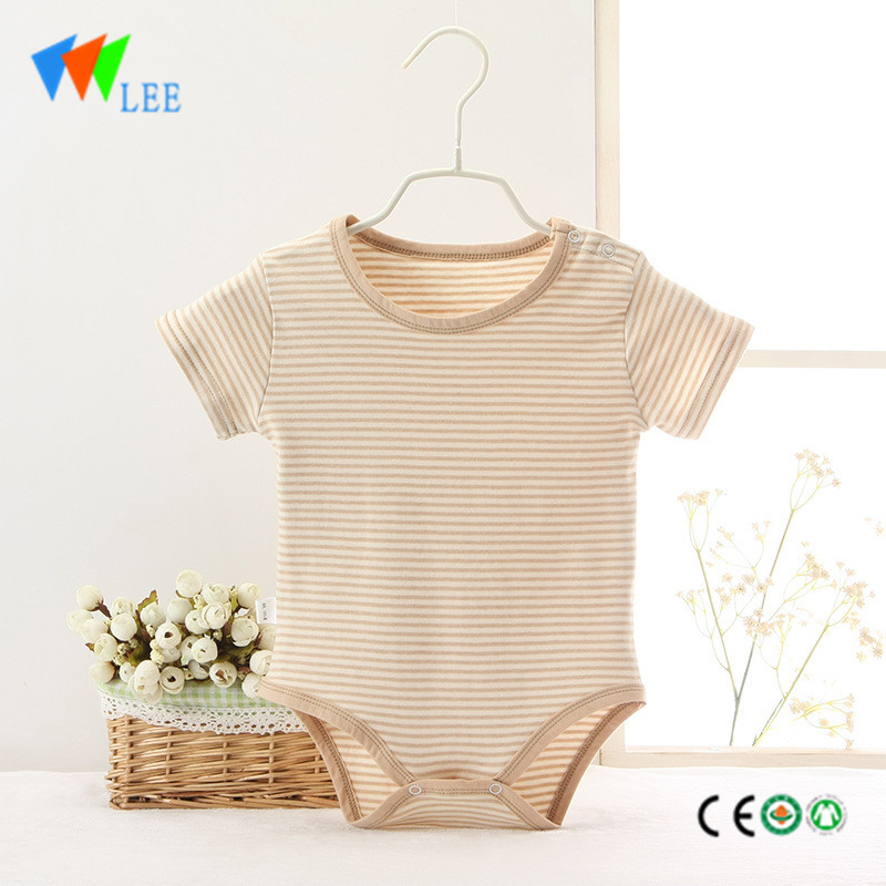 soft colored cotton stripe clothes stripe navy uniform short sleeve romper