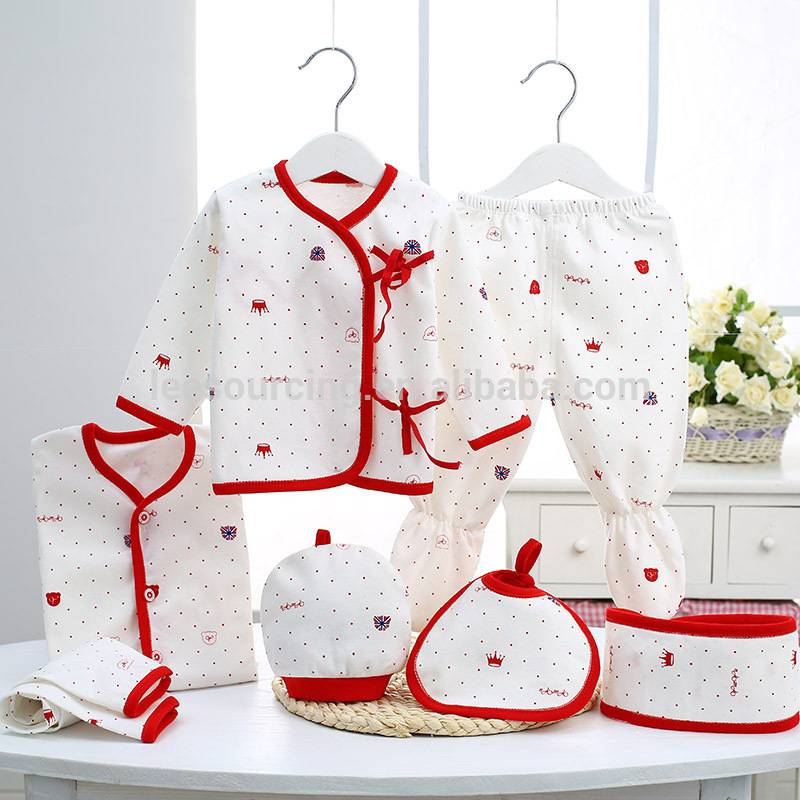 100% Cotton 7 pcs gift set baby clothing set wholesale for newborn