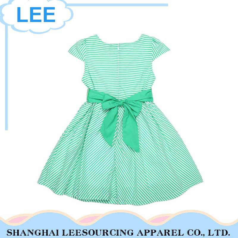 Top Quality children frock model Cotton Kids Gown Green Baby Dress