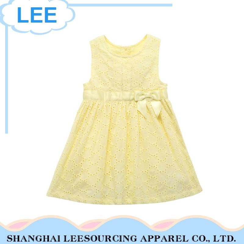 Custom Logo Printing Yellow Baby Girls Dress Frocks Designs