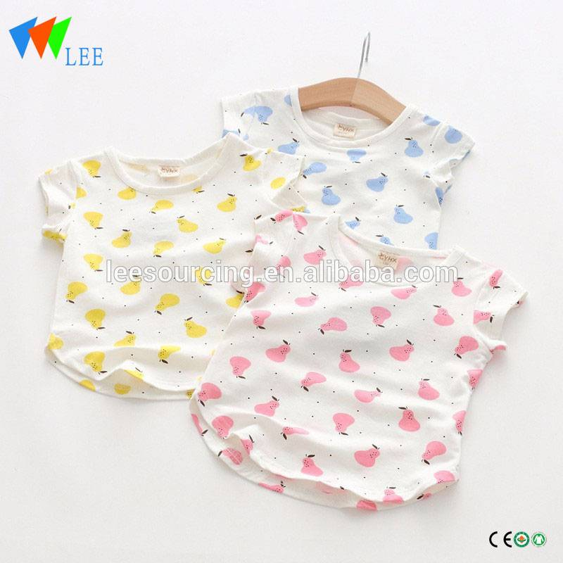Summer soft full printing wholesale baby girl cotton t-shirt