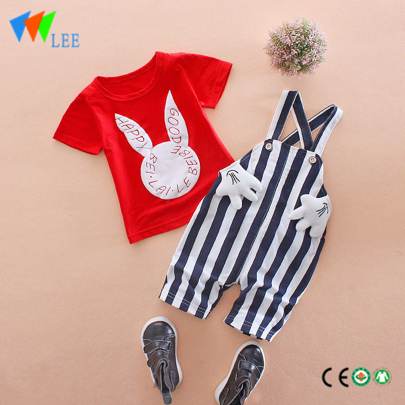 100%cotton babies suit baby boy's casual summer clothing sets printed lovely rabbit