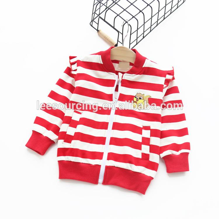 Spring casual style striped cotton girls jacket
