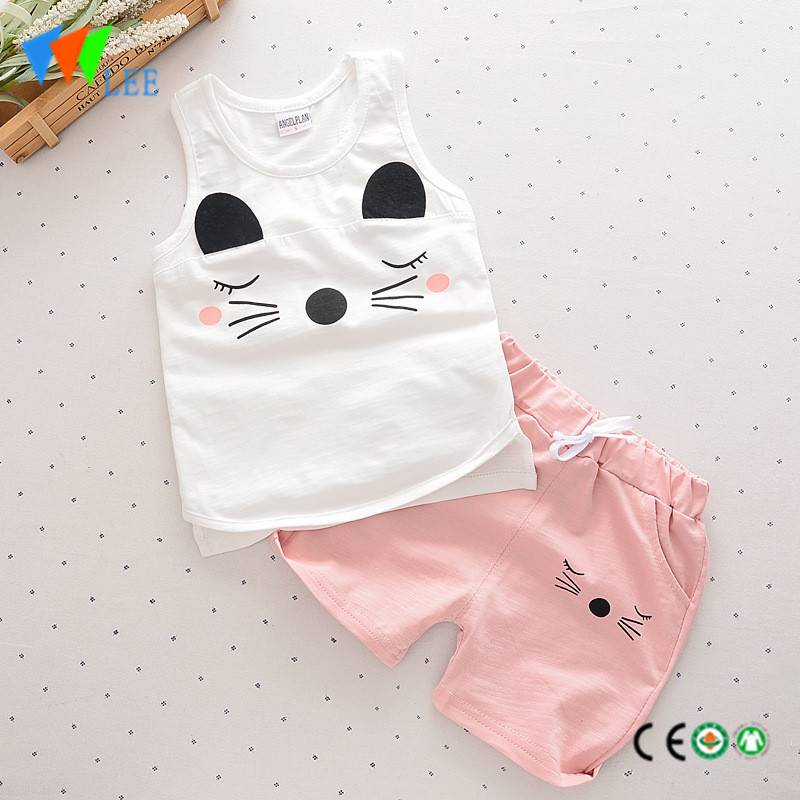 100% cotton babies suit waistcoat and shorts wholesale baby clothing sets printed