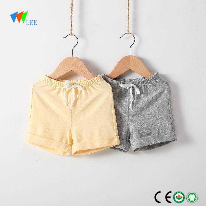 wholesale china manufacture fashion design 100% organic cotton summer girls baby shorts