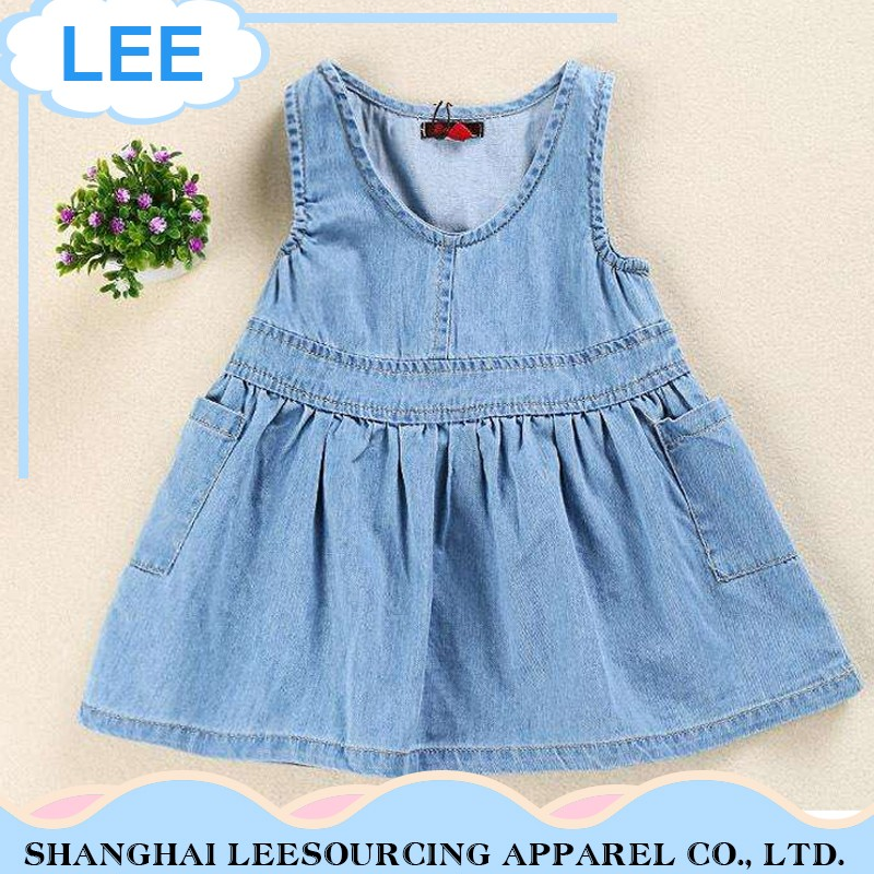 Professional Custom Logo Printing Baby Girl Jean Dress