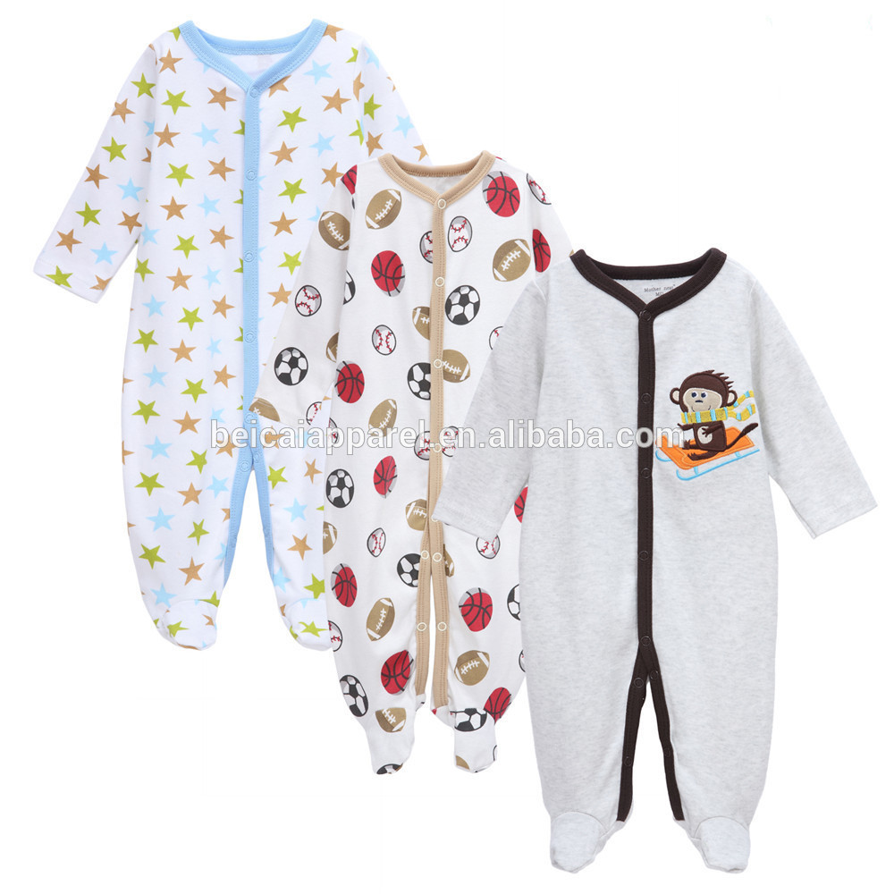 Wholesale price high quality baby boy footed onesie baby fashion clothing baby bamboo organic onesie