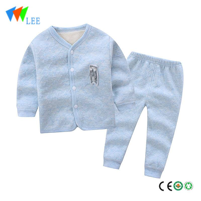Organic cotton wholesale baby kids clothing sets embroidered compound to open suit