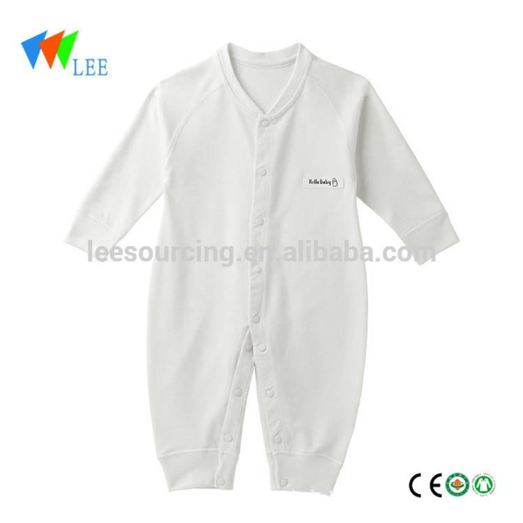 High quality eco bamboo fiber material plain offwhite long sleeve newborn baby bamboo bodysuit clothing