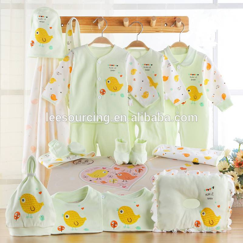 Newborn baby 100% cotton gift set infant duck printing wholesale