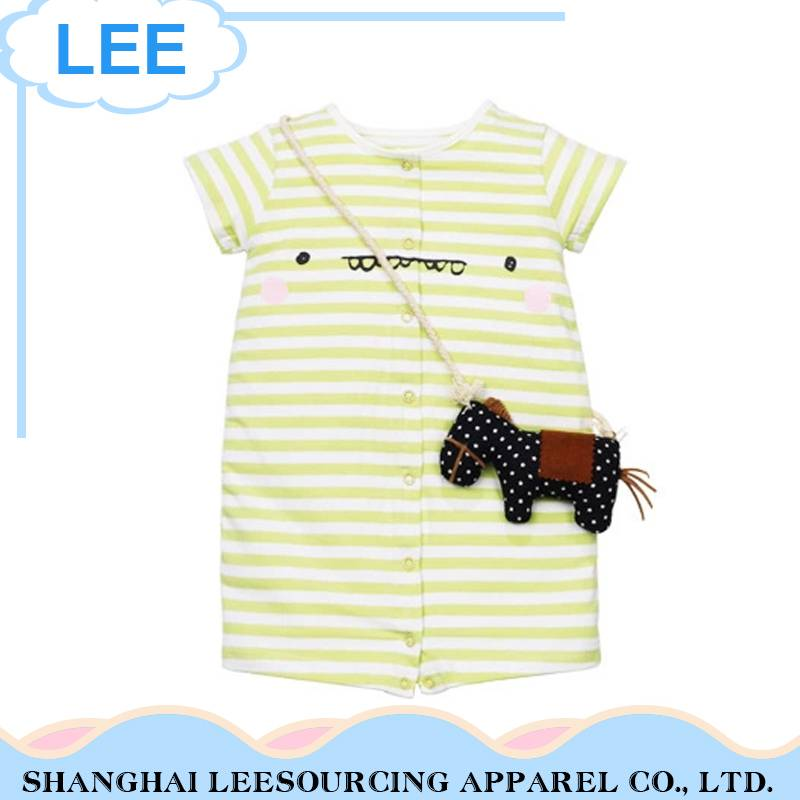 Top Quality Short Sleeve Bamboo Baby Summer Bodysuit With White Stripe