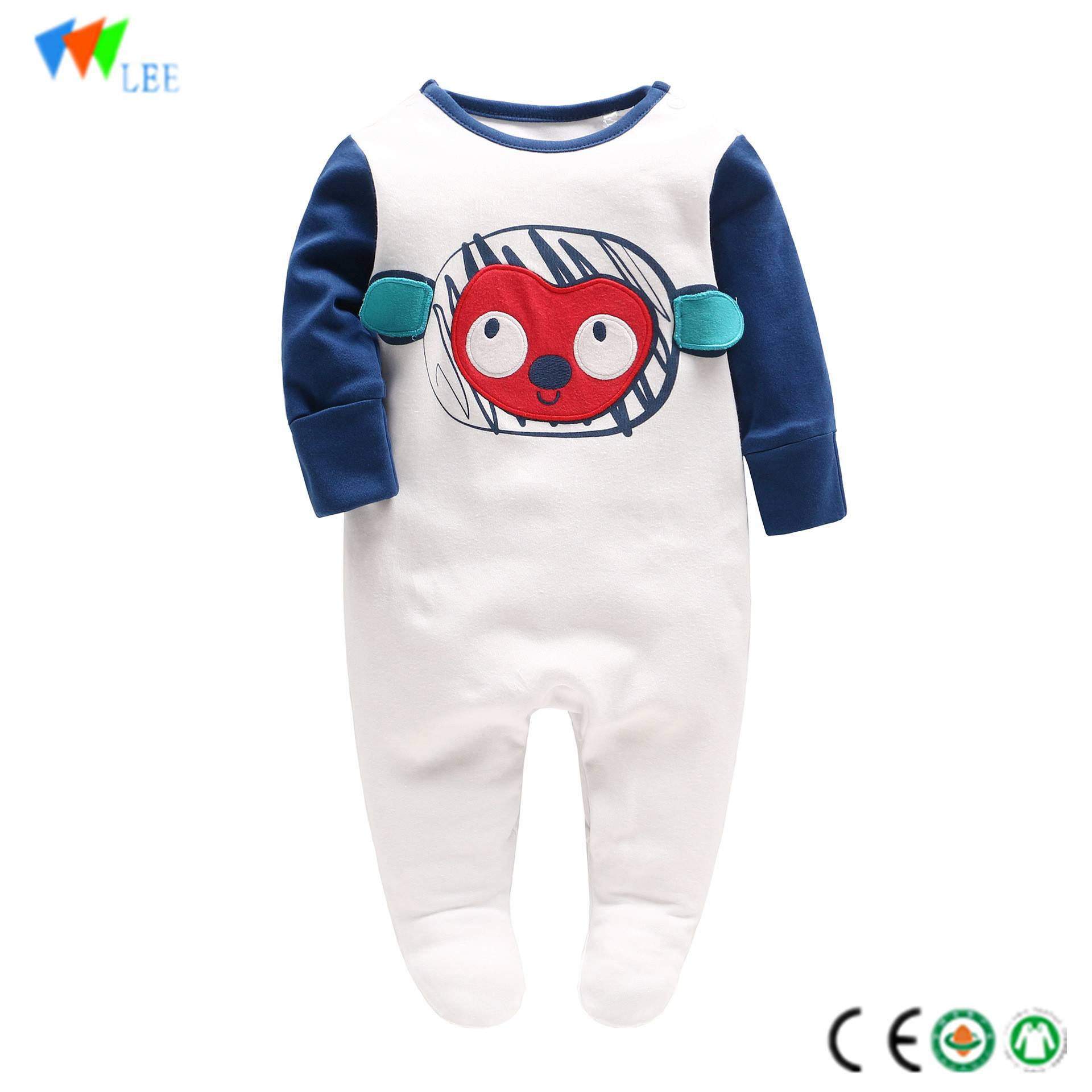 New style wholesale & OEM high quality cotton baby boy romper embroidered