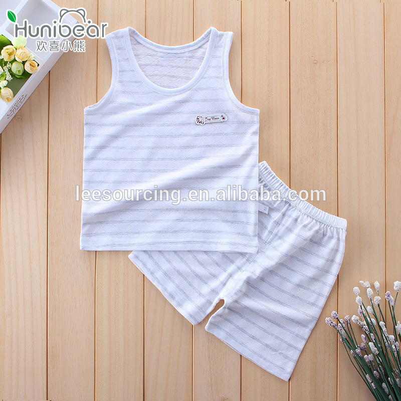 wholesale baby bamboo clothing vest and shorts white bamboo baby clothes set