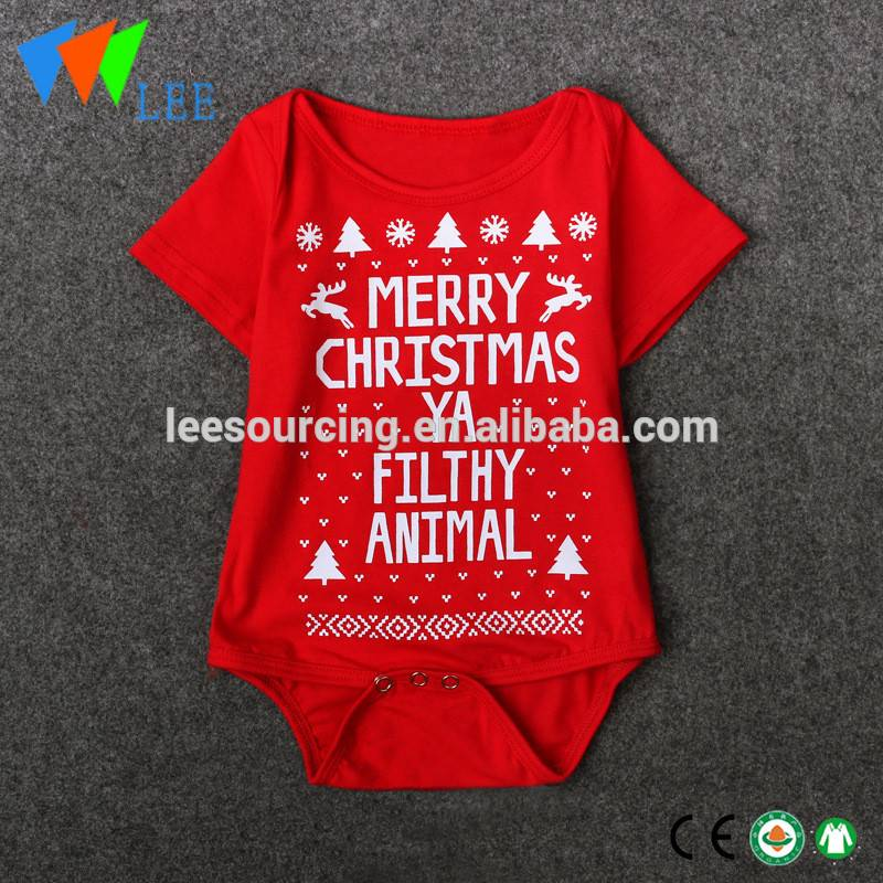 Christmas Baby Romper Cotton Short Sleeve Baby Onesie Wholesale