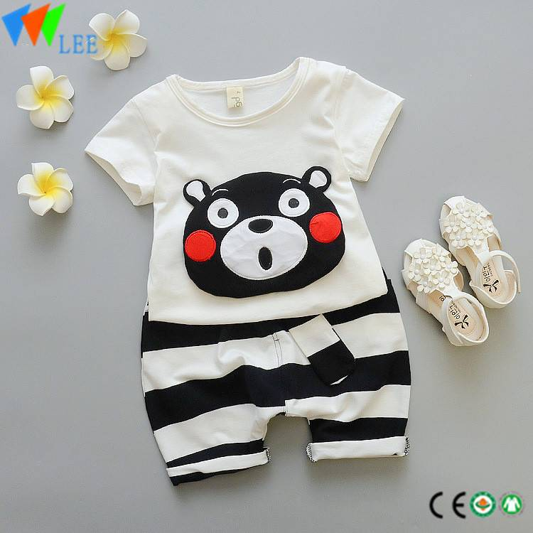 baby spring short sleeve cartoon pattern round neck t shirt long striped pants kids cute infant two pieces sets