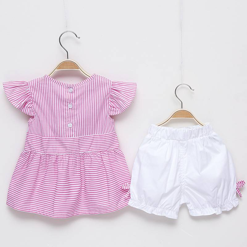 100% cotton kids clothing baby girl striped tie dress with short pants children's boutique sets