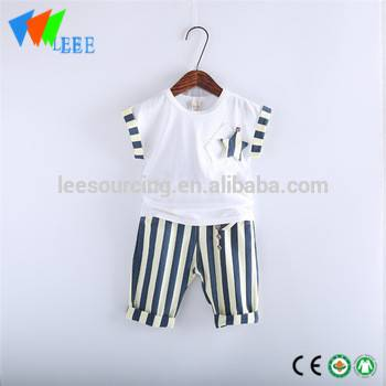 Kids summer linen cotton star t shirt stripe short pants for baby clothing sets