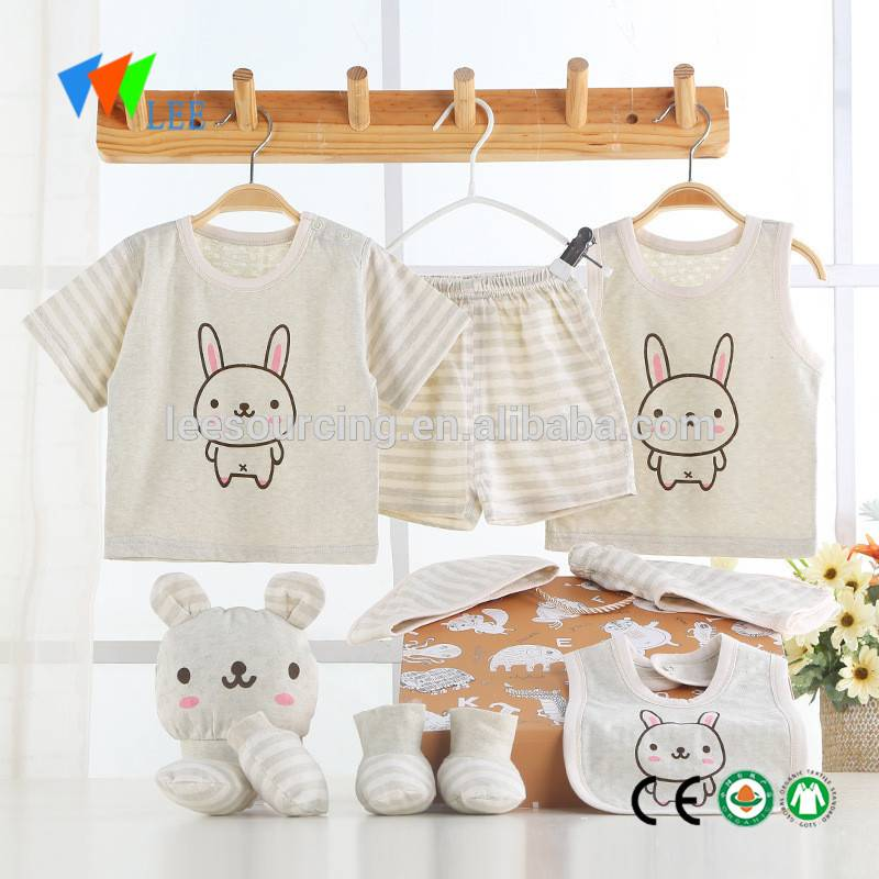 Summer baby real organic cotton soft gift set newborn baby clothing wholesale