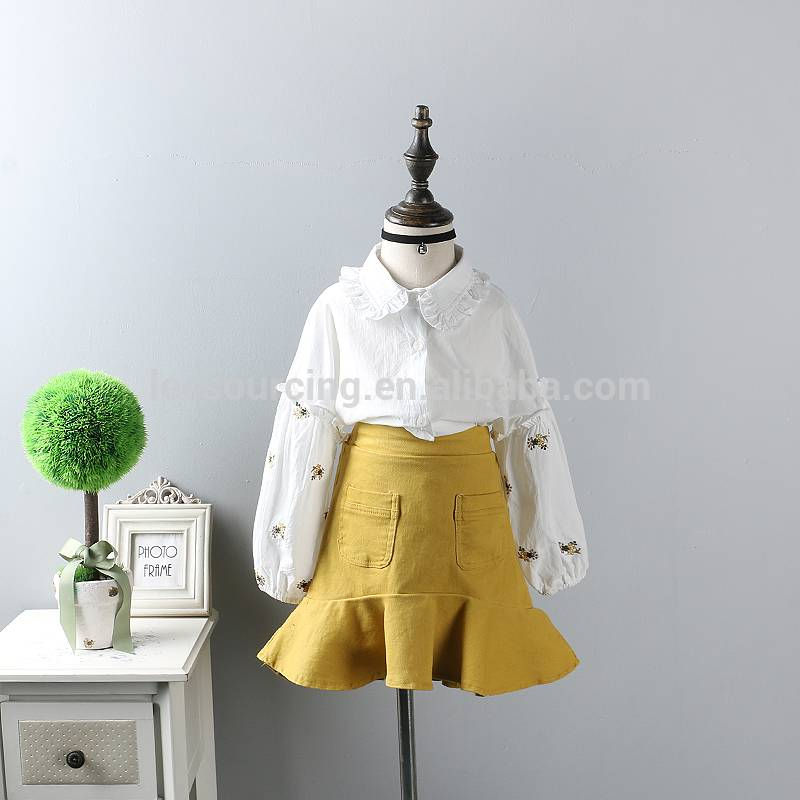Children's new pure cotton flower embroidered shirt two-piece half-length fishtail dress