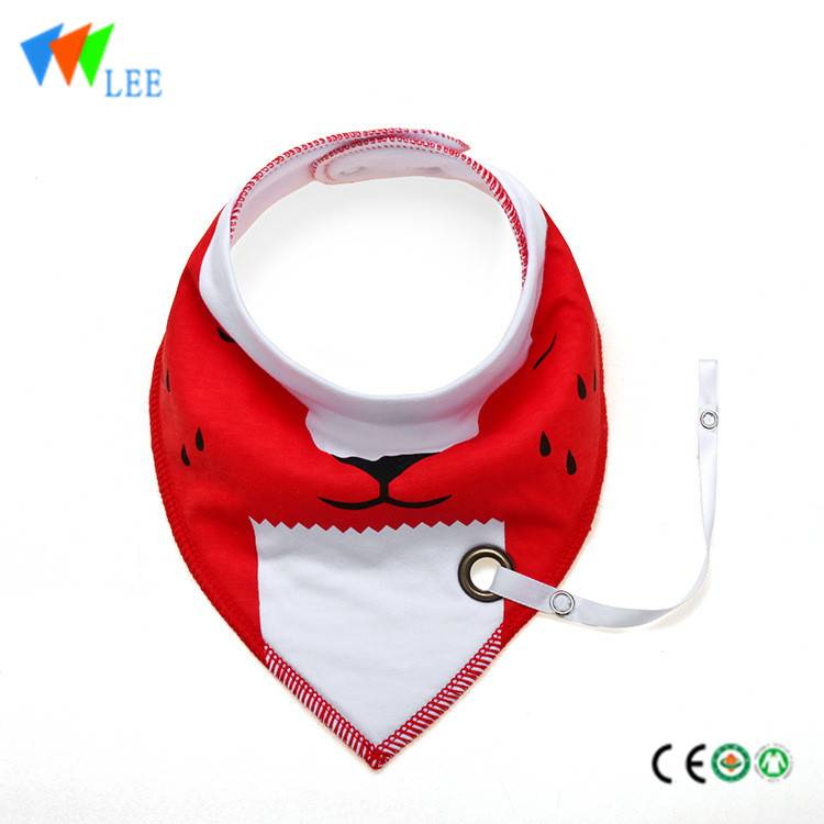 100%cotton newborn baby bib manufacturer waterproof comfortable printed with strap