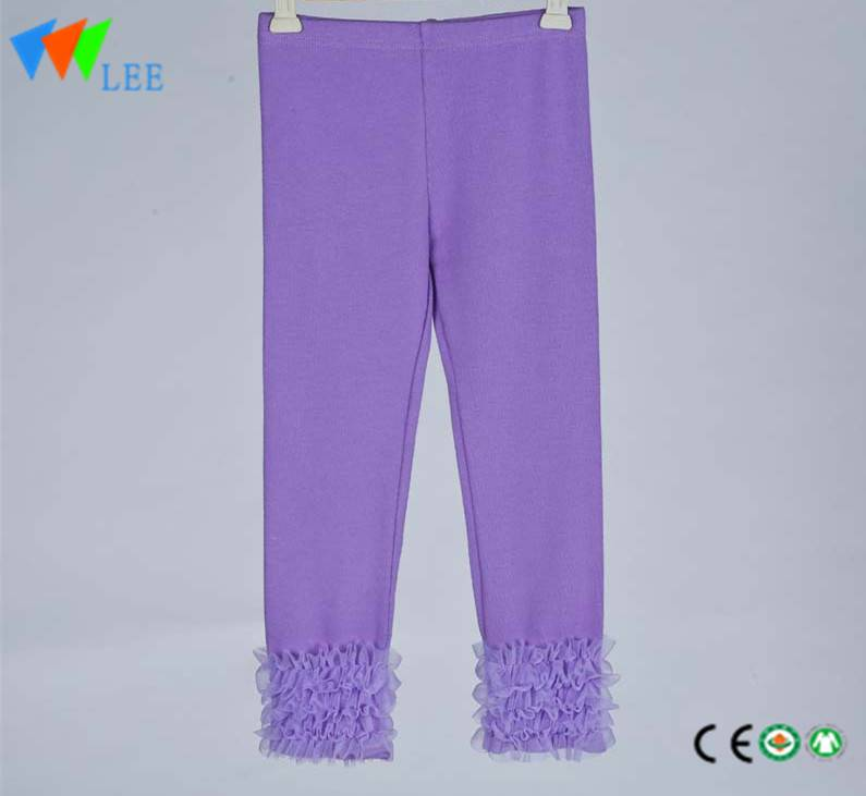ruffle girl soft leggings pure color elastic self-cultivation pants