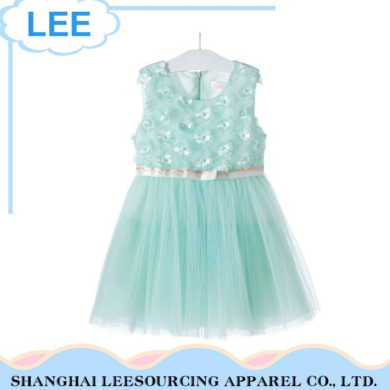 Professional Breathable Green Tulle Baby Girls Dresses