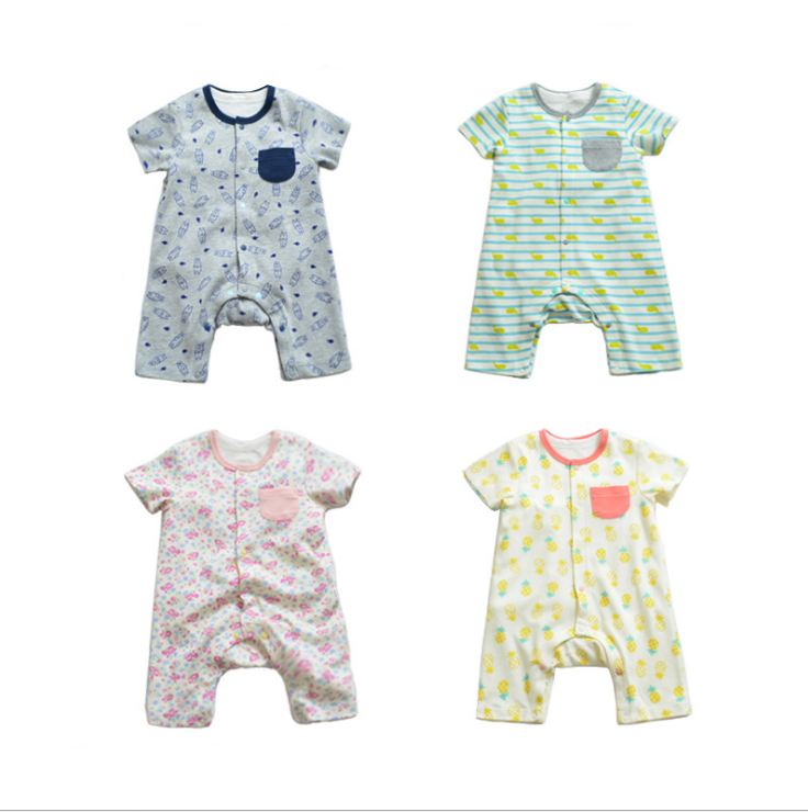 Cheap Price Wholesale Short Sleeve Cartoon Baby Bamboo Romper