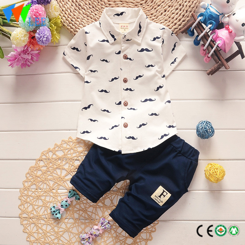 100% cotton babies suit baby boy's casual summer clothing set printed beard