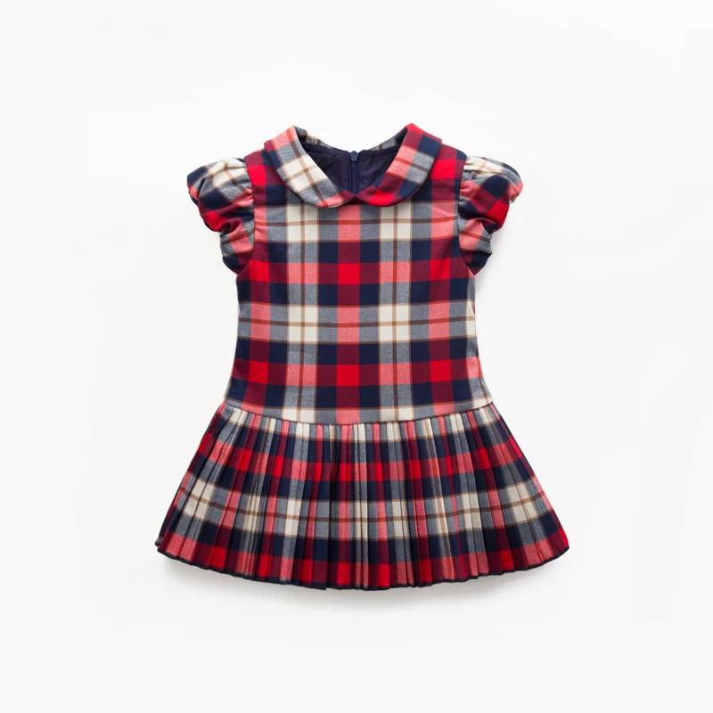 2017 Newest Baby Dresses Eco-Friendly Kids Girls Plaid Fit and Flare Dress