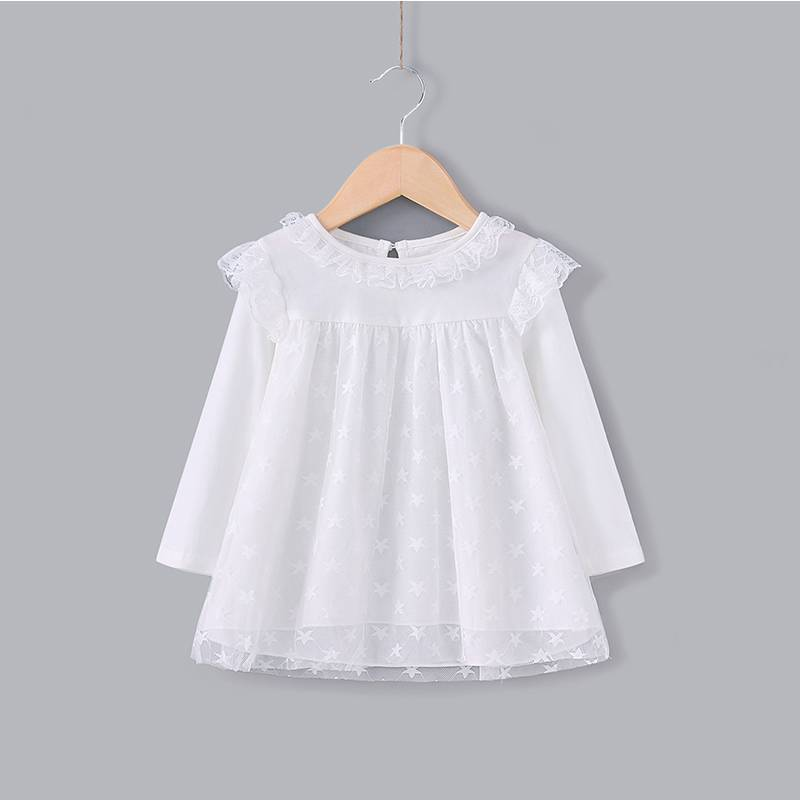 New Design Infant Apparel Eco-Friendly White Children Latest Lace Dress