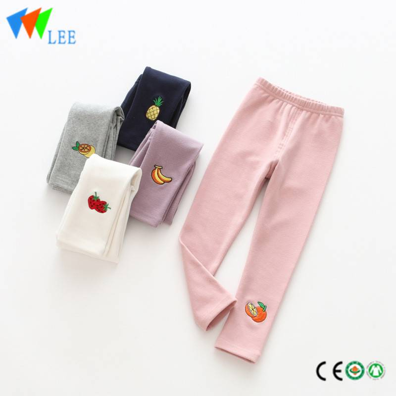 100% cotton baby girl leggings wholesale embroidered fruit lovely