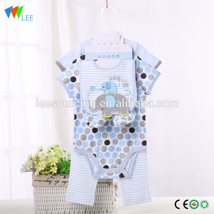 New design blank striped summer clothes baby romper gift set