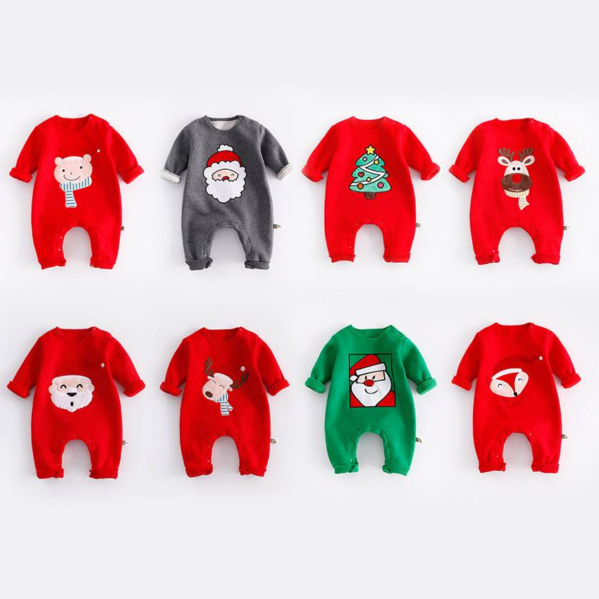 High Quality santa children clothes fashionable festival Christmas rompers for child