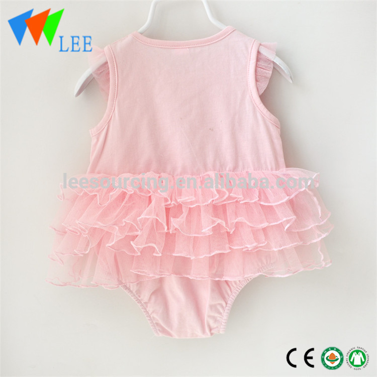 100% Cotton girl lace ruffle onesie wholesale baby clothes romper