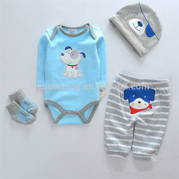 OEM Custom Design Baby Cartoon Romper Clothing Set 4pcs Layette Set for Newborn Infant Unisex