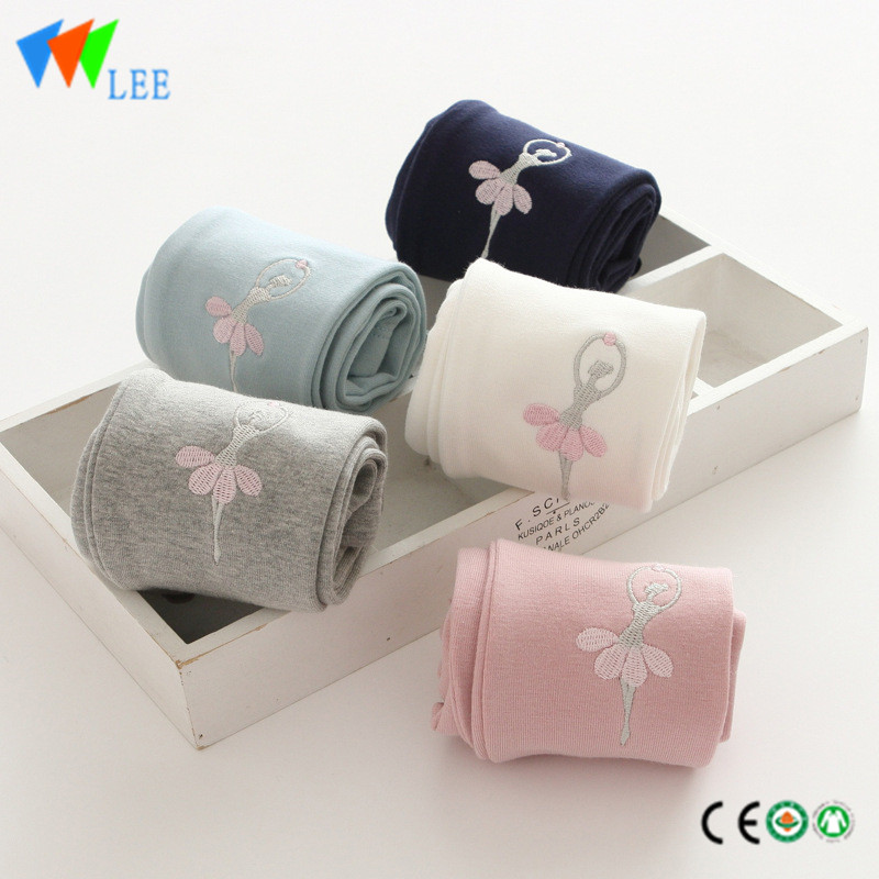 100% cotton baby girl leggings wholesale pure-color embroidered dancing girl fancy