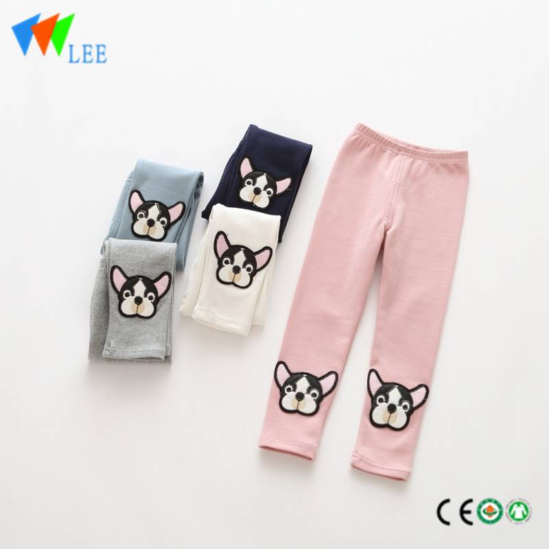 100% cotton baby girl leggings applique lovely dog