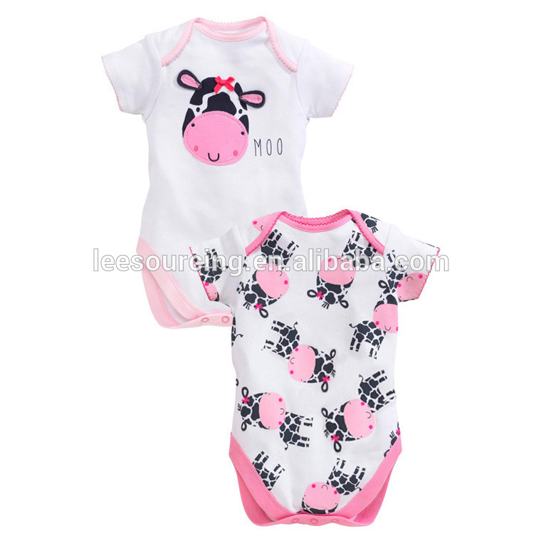 Fashionable milk cow pattern toddlers romper sets baby girl jumpsuit sets