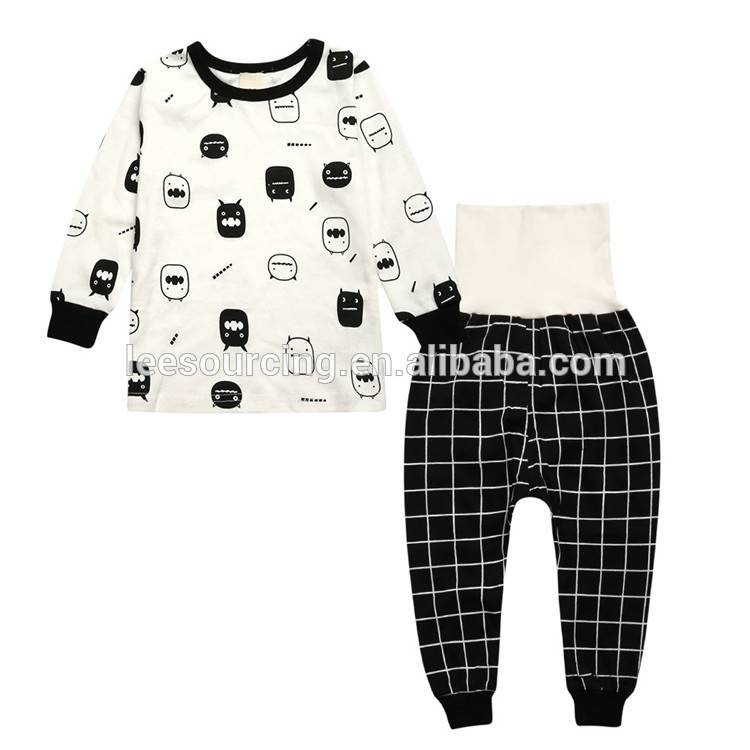 Wholesale baby boy clothes set long sleeve t shirt and pants 100% cotton kids clothing