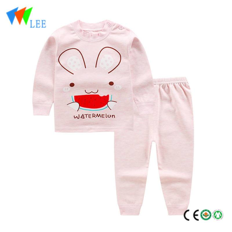 Organic cotton wholesale baby kids clothing sets printed comfortable home pajamas