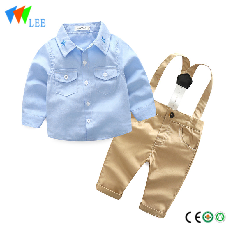 wholesale baby kids clothing sets long sleeve Neckline embroidered