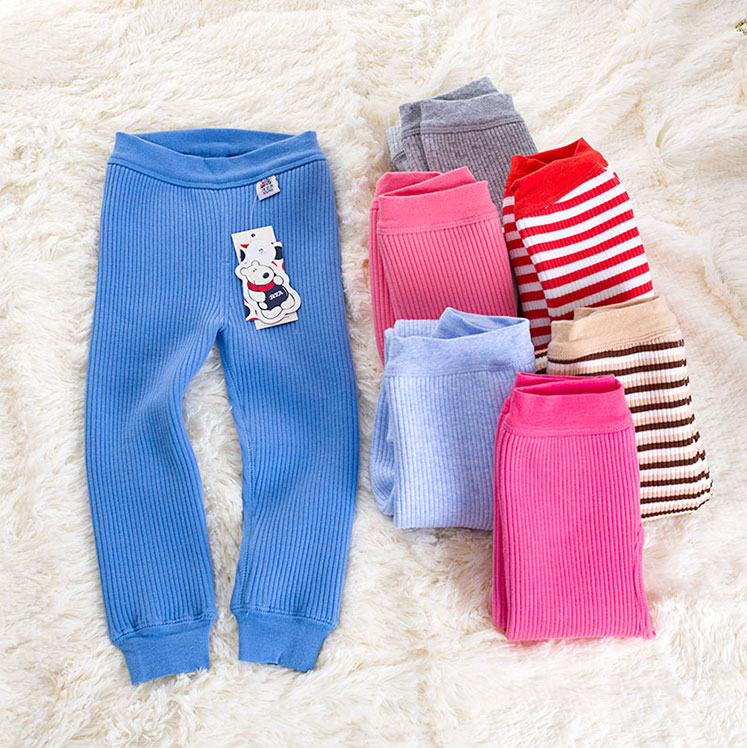 Wholesale Custom Printed Children Baby Girl Cotton Striped Leggings Pants