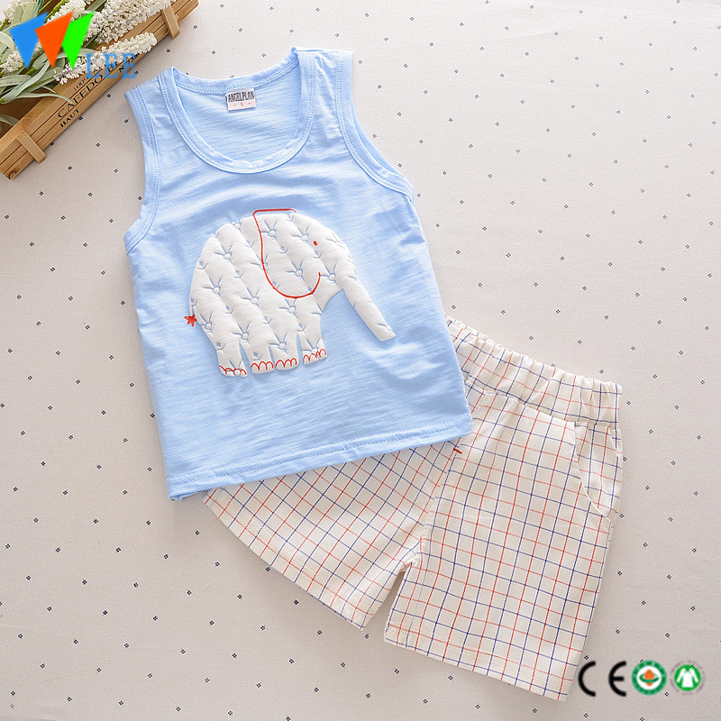 100%cotton babies suit waistcoat and shorts wholesale baby clothing sets printed elephants