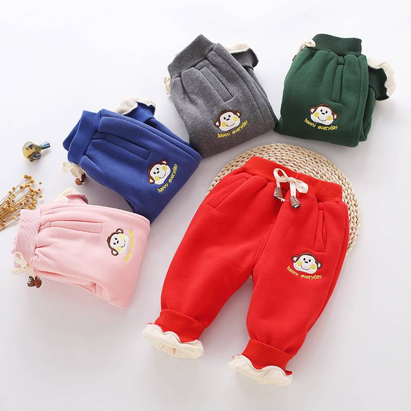 Boutique kids christmas pants wholesale baby warm trousers