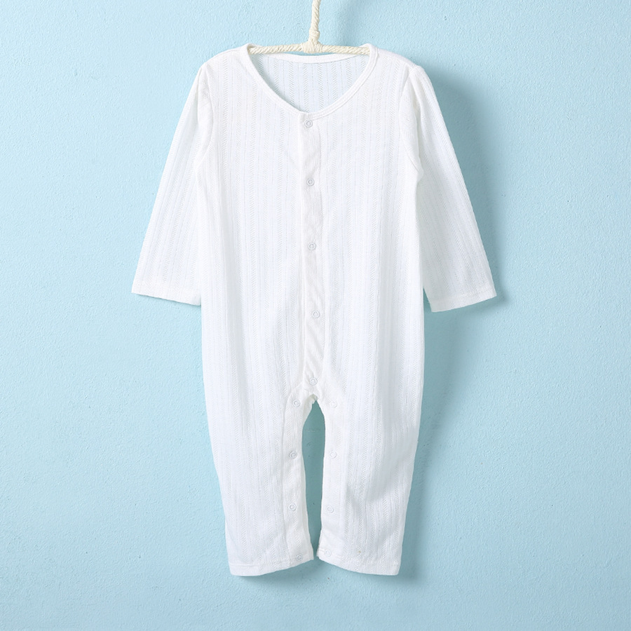 Spring summer long sleeve bamboo plain white baby rompers