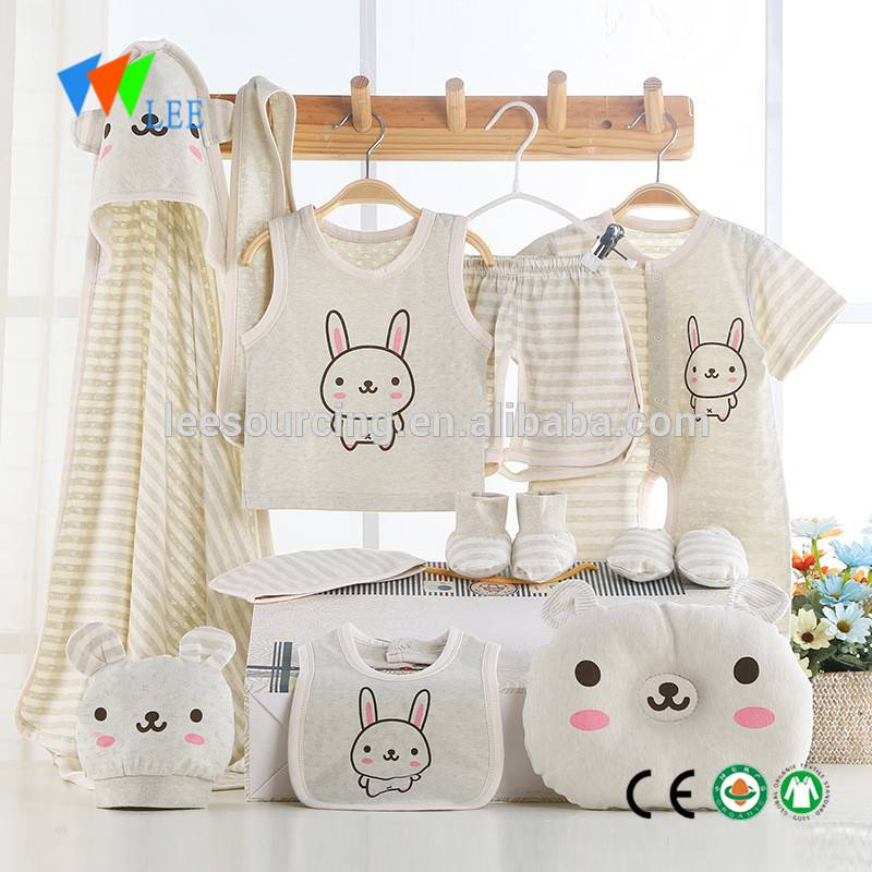 Wholesale Organic Cotton Newborn Baby Girl Boy Clothes Clothing Gift Sets Romper Pants